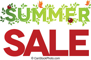 Summer sale design. Beautiful colorful illustration, green...