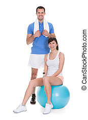 Portrait Of Couple Working Out - Happy Couple Working Out...
