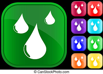 Water drop - Symbol of water drop on shiny square buttons