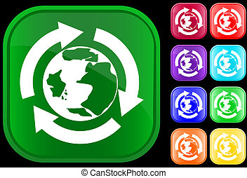 Earth icon in the recycling circle on shiny square buttons
