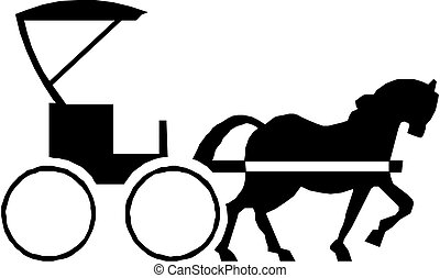 Horse with carriage - Black silhouette of a horse with...