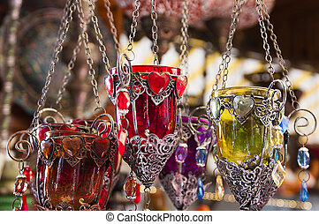 Turkish candle holders in a bazaar - Colourful Turkish glass...