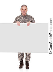 Mature Soldier Showing On Blank Placard Isolated On White...