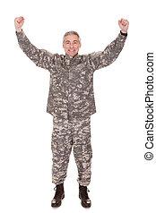 Mature Soldier Raising His Arm