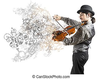 The violinist - Young violinist with vintage flower effect