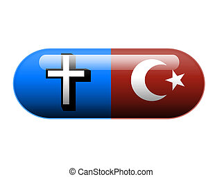 Half Christian half Islamic pill - A pill with the Christian...
