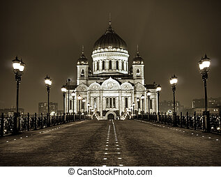Cathedral of Christ the Saviour in Moscow night view from the bridge