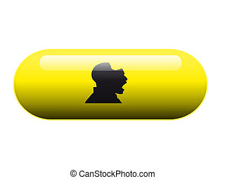 Dangerous pill - A pill with a silhouette with a bite taken...