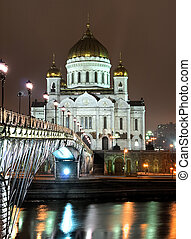 Cathedral of Christ the Saviour in Moscow night view accross the river