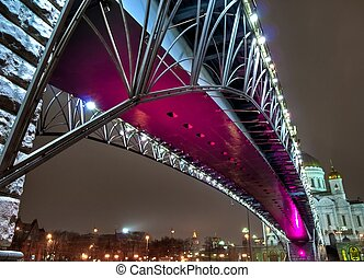 Bridge over the Moscow river night view