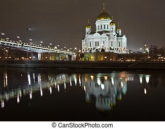 Christ the Saviour Cathedral in Moscow night view accross...