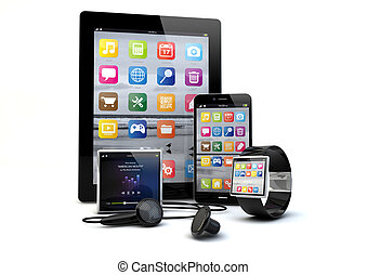 gadgets - render of a group of gadgets: tablet pc, smart...