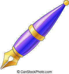 Fountain pen - Blue cartoon fountain pen. Vector...