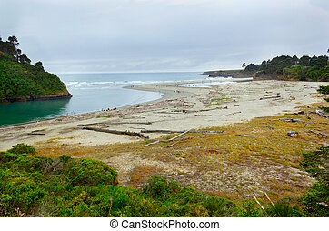 Mouth of Big river in Mendocino county, California, USA....
