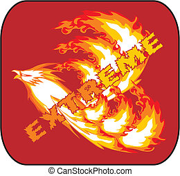 Vector illustration of fire bird