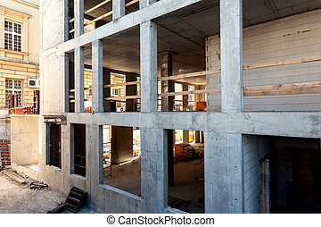 Concrete structure - Unfinished construction of a new office...