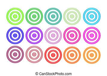 Aqua Bulls-Eyes - Aqua bulls eyes in different colors over...