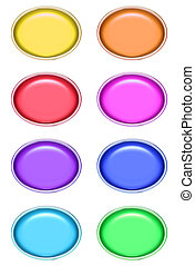 Oval Glossy Buttons - Oval glossy buttons in different...