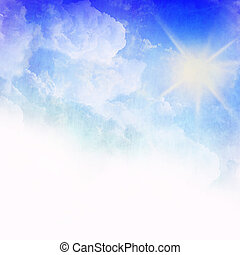 Sun on a blue sky with rays , abstract blurred background