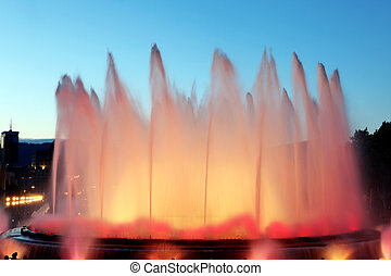 The famous Montjuic Fountain in Barcelona, Spain