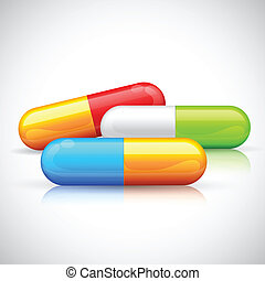 Colorful Capsule - illustration of colorful medical capsule