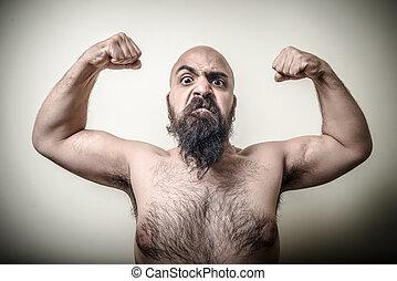barbudo, poder, zangado, músculo,  Super, homem