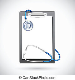Clipboard with Stethoscope - illustration of blank paper in...
