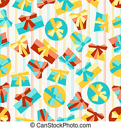 Happy Birthday party seamless pattern with gifts.