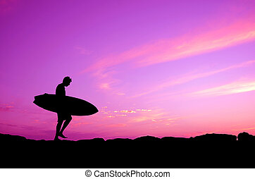 Silhouette Of A Surfer - Vacation Silhouette Of A Surfer...