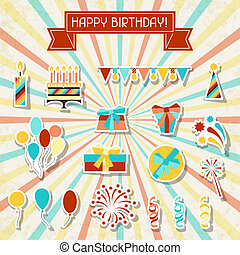Happy Birthday party sticker icons set