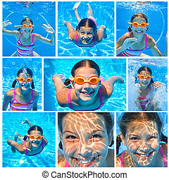 Underwater girl - Collage of images the cute girl swimming...