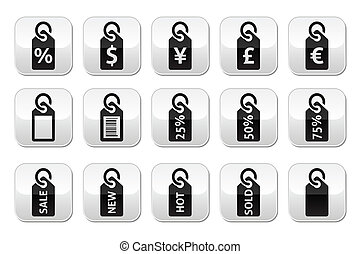 Shopping, price tag, sale buttons - Grey square buttons set...