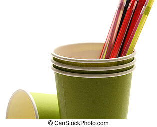 Green paper cups with straws