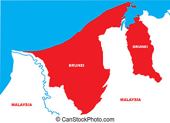 Brunei -  The outline of Brunei