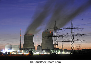 nuclear power station at night in germany