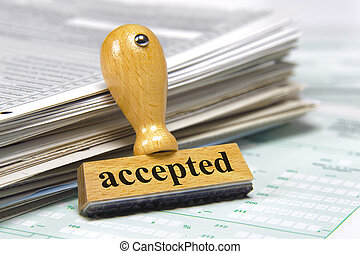 accepted marked on rubber stamp