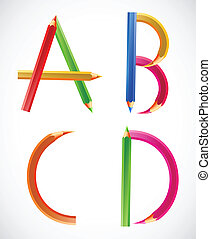Colorful alphabet of pencils A, B, C, D Vector illustration...