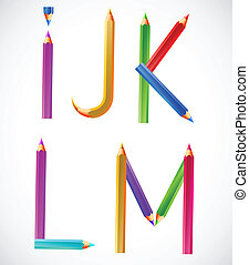 Colorful alphabet of pencils (I, J, K, L, M)