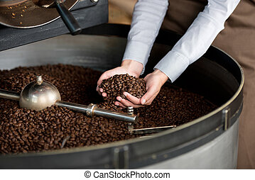 roasted coffee beans in a woman's hand - close-up view of...