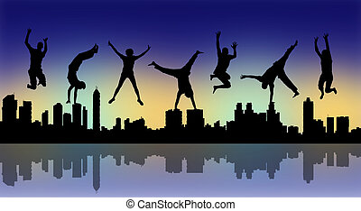 happy jumping people with a night city silhouette