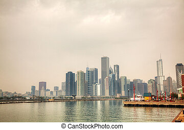 Downtown Chicago, IL on a cloudy day as seen from Lake...