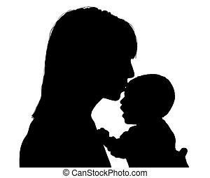 mother kissing her newborn child silhouette - young mother...