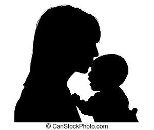 mãe, beijando, dela, recem nascido, criança,...