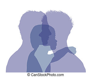 homosexual male couple and their baby colorful silhouette -...