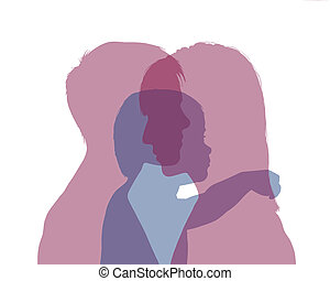 homosexual female couple and their baby colorful silhouette...