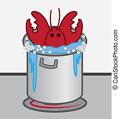Lobster Cooking Pot - Lobster cooked in boiling pot of water...