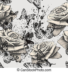 Seamless pattern with blooming roses and black butterflies....