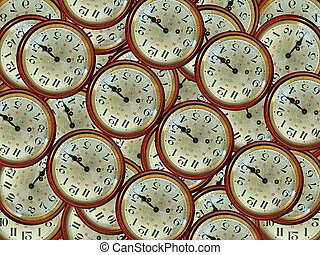 Vintage clocks pattern given the 3:15 pm in warm color...