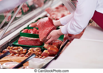 vendedora, ofrecimiento, fresco, carne, supermercado