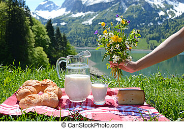 Milk, cheese and bread served at a picnic in an Alpine...